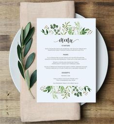 Greenery Menu Card Template 57 Eucalyptus Menu Printable saved from etsy Will Wedding Menu, Wedding Reception, Our Wedding, Destination Wedding, Wedding Foods, Wedding Vintage, Wedding Catering, Wedding Ideas, Menu Restaurant