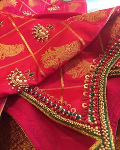 Benaras, Benaras and more Benaras. For my lovely Happy happy for you. Wedding Saree Blouse Designs, Pattu Saree Blouse Designs, Blouse Designs Silk, Blouse Patterns, Aari Embroidery, Hand Embroidery Videos, Hand Embroidery Designs, Embroidery Stitches, Hand Work Blouse Design
