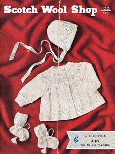Greenock 122 baby matinee coat and bonnet vintage by Ellisadine, £1.00