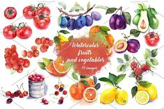 Set Watercolor Fruits And Vegetables by ArtGhost on @creativemarket