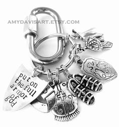 I would make this into a charm bracelet. Armor Of God Keychain, Put On The Full Armor of God, Christian Men, Armor of God Keychain for Men, Spiritual Armor (Ephesians Christian Men, Christian Jewelry, Christian Gifts, Christian Quotes, Spiritual Armor, Spiritual Gifts, Shield Of Faith, Ephesians 6, Armor Of God