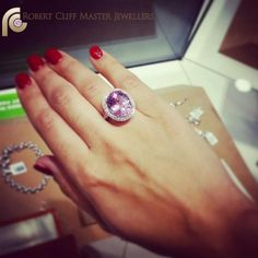 """""""Pretty in Pink"""" #Kunzite surrounded by #diamonds - who likes it? #gemstone #pink #purple #ring #jewellery #jewelry"""