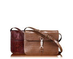 Gucci Jackie Soft Crocodile Flap Shoulder Bag