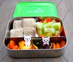 Square mini pocket sandwiches in @LunchBots with Rilakkuma food picks