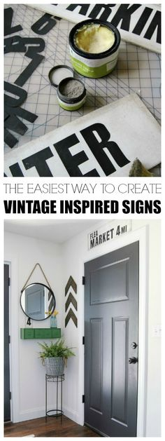 DIY Vintage Signs Made From Foam Board | Little House of Four - Creating a beautiful home, one thrifty project at a time.: DIY Vintage Signs Made From Foam Board