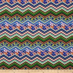Michael Miller Zig Zag Floral Multi from @fabricdotcom  From Michael Miller, this cotton print is perfect for quilting, apparel and home decor accents.  Colors include black, brown, yellow, green. blue, orange and white.