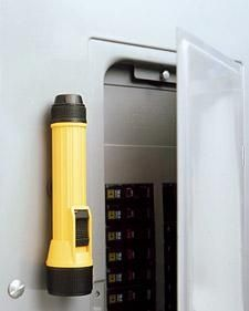 Use magnets to attach a flashlight to your electrical box