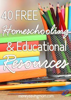 HUGE List of FREE Homeschool Curriculum & Resources (40 freebies!) - Money Saving Mom®️️