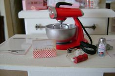 Playscale Vintage Sunbeam Style RED MIXER by BakinginMiniature