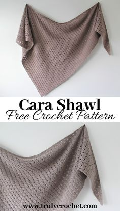 A warm but lightweight crochet shawl. The Cara Shawl is a free crochet pattern thats easy but elegant using DK yarn. A warm but lightweight crochet shawl. The Cara Shawl is a free crochet pattern thats easy but elegant using DK yarn. One Skein Crochet, Filet Crochet, Poncho Au Crochet, Beau Crochet, Crochet Patron, Crochet Gratis, Crochet Shawls And Wraps, Crochet Scarves, Doilies Crochet