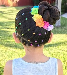 """✨""""Be a rainbow in someone else's cloud.""""✨ . My thoughts and prayers go out to the families and loved ones of those affected by the senseless attack in Manchester. #PrayforManchester . Elastic rainbow bands into a high side braided bun Cute little flower clips from @clairesstores . Wishing you all a a blessing day! . #pr3ttyhairstyles #abc7eyewitness #braids #braided #braidstyles #braidsforlittlegirls #braidedbun #braidedupdo #braidedhair #braidideas #cghphotofeature #ki..."""