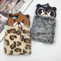 Cute glasses bear fluffy warm phone cases cover