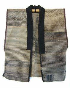 Japanese Antique Sakiori Sodenashi Work Vest Japanese sodenashi (work vest),  made of indigo and other neutral colored sakiori (rag woven) c...