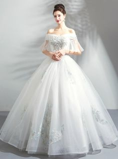 262a7a27ac5 In Stock Ship in 48 Hours White Ball Gown Tulle Wedding Dress With Pearls