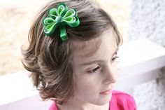 Shamrock Hair Clip Ribbon Sculpture by MySoCalCreations on Etsy, $4.00