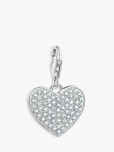 Buy THOMAS SABO Charm Club Heart Charm, Silver from our Women's Charms & Beads range at John Lewis & Partners. Thomas Sabo, Heart Charm, Heart Ring, Sparkle, Charmed, Club, Sterling Silver, Beads, Pendant
