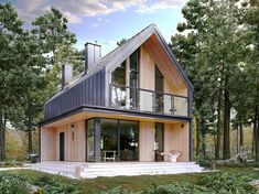 Concept for above and below masters with porch/balcony, but balcony has open sides House Cladding, Facade House, Modern Barn House, Modern House Design, Forest House, Dream Home Design, Scandinavian Home, House In The Woods, Exterior Design