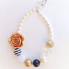 Black and Gold Flower Girl Necklace by LoveBloomsHereshop on Etsy
