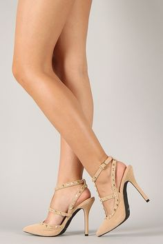 Dollhouse Gravity Studded T-Strap Pointy Toe Pump