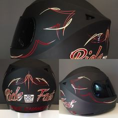 """Ride Fast....Take Chances"" motorcycle helmet with pinstriping by Vane Pinstriping Vane Pinstriping"