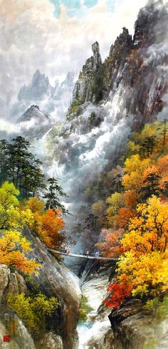 (North Korea) Mt Geumgang by Mun Jeong-ung ). Chinese Landscape, Landscape Art, Landscape Paintings, L5r, Nature Artwork, Mystique, China Art, Zen Art, Rainbow Art