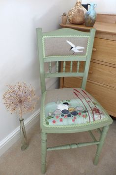 Embroidered chair, tern on a nest. Annie Sloane chalk paint.