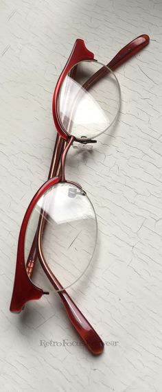 6f602a2f8632 Semi rimless red cat eye browline hornrim reading glasses.