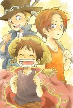 Imagem de ace, one piece, and luffy