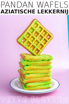 Funky colored and delicious recipe for Asian sweet pandan waffles. Crepes And Waffles, Chicken And Waffles, Easy Baking Recipes, Waffle Recipes, Pie Dessert, Dessert Recipes, Desserts, Pandan Waffle, Pandan Cake
