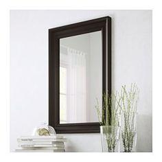 IKEA - HEMNES, Speil, brunsvart, , Kommer med sikkerhetsfilm - minsker risikoen for skader om glasset knuses.Kan henges horisontalt eller vertikalt.Laget av massivt tre, et slitesterkt og lunt naturmateriale.