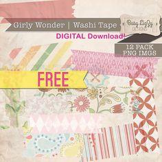 FREEBIE Digital Washi Tape - for digital scrapbooking or graphic design elements.
