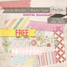 FREEBIE Digital Washi Tape - for digital scrapbooking or graphic design elements.