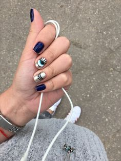 : Yes Nails Love Nails, How To Do Nails, Pretty Nails, Fun Nails, Happy Nails, Minimalist Nails, Evil Eye Nails, Magic Nails, Hair