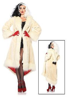 Women's Cruella Deville Coat Costume Wig Cigarette Holder