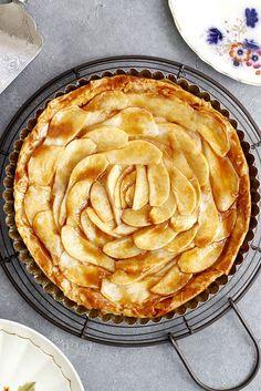 Salted Caramel Pear Phyllo Tart   girlversusdough.com @girlversusdough #dessert #baking #fillo #phyllo