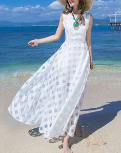 Chic Scoop Neck Sleeveless Pure Color Pocket Design Women's Dress
