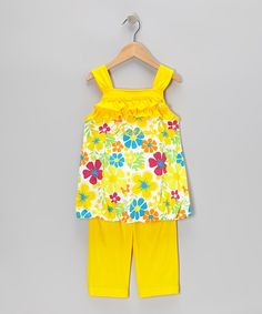 Love this Yellow 'Princess' Tunic & Capri Pants - Infant, Toddler & Girls by G&J Relations on #zulily! #zulilyfinds