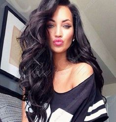 Black Color Glueless Wigs Full Lace Wigs & Lace Front Wigs Big Wave Wigs - US $186.00