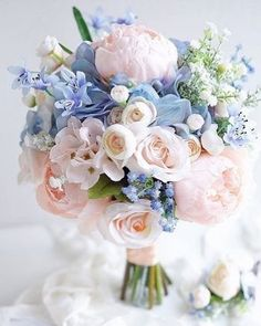 Blue Wedding Flowers bridal bouquet shapes tender haid tied bouquet lemongrasswedding - Wedding bouquet is an important bride's accessory. There are plenty different kind of flowers and seven of the most popular bridal bouquet shapes. Bridal Flowers, Flower Bouquet Wedding, Bouquet Flowers, Cornflower Wedding Bouquet, Greenery Bouquets, Small Bouquet, Romantic Flowers, Elegant Flowers, Pastel Pink Weddings