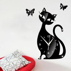 Cute Cat with But...  LIMITED TIME FREE SHIPPING 40% OFF http://bentusi.myshopify.com/products/cute-cat-with-butterfly-mirror-black-wall-clock?utm_campaign=social_autopilot&utm_source=pin&utm_medium=pin