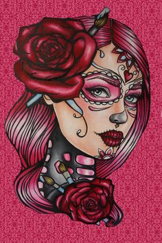 Day of the Dead Stretched  Canvas Print 12 by 16 Pin Up girl Tattoo Art  lowbrow Art Illustration  Roses and Paintbrush Sugar Skulls