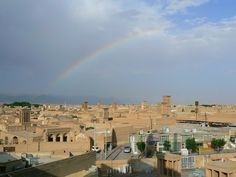 Rainbow over the desert city of Yazd. Read more: http://www.imperatortravel.com/2012/11/iran-discovering-the-traces-of-old-persia-in-the-islamic-republic-episode-12-yazd-on-the-silk-road.html