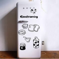 Good Morning Breakfast Combination Wall Decals Warm Family Dining Room Kitchen Fridge Decorative
