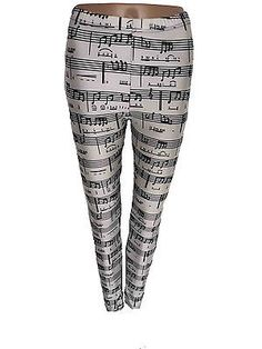 Musical-Notes-Digital-Print-White-Black-Music-Leggings-Pants-Tights-One-Size