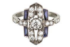 DIAMOND, SAPPHIRE AND 18K WHITE GOLD RING, $3,700, KWIAT, 212-725-7777