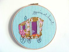 "Embroidery Hoop Art - 'Gypsies at Heart' Whimsical Textile Art in turquoise & purple - 8"" hoop"