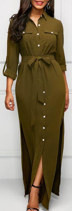 Army Green Roll Tab Sleeve Long Shirt Dress.