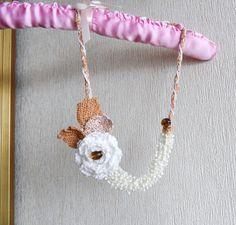 Hand Crochet Cotton Statement Necklace Rose by CraftsbySigita on Etsy