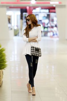 Long white peplum top and black skinnies ^_^ casual outfit