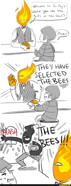 undertale, grillby, frisk